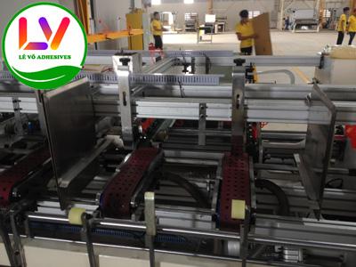 Máy dán thùng carton có 2 máng keo: 1 bên mép dùng keo sữa, 1 bên mép dùng keo nhiệt.